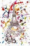 Vector l'illustrazione, etichetta di Parigi con la torre Eiffel disegnata a mano Immagini Stock