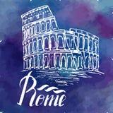 Vector l'illustrazione, etichetta di Roma con il Colosseo disegnato a mano Immagini Stock