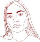 Vector l'illustrazione, fronte di bella giovane donna su fondo bianco Fotografie Stock Libere da Diritti