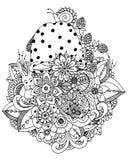 Vector l'illustrazione, i fiori, disegno di scarabocchio del fungo Esercizio meditativo Anti sforzo del libro da colorare per gli Immagini Stock Libere da Diritti