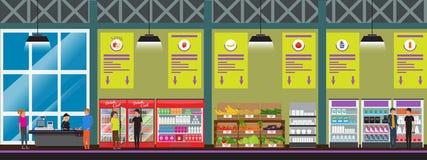 Vector l'illustrazione interna di vettore del supermercato nello stile piano con su dettagliato Prodotti dell'affare dei clienti  illustrazione di stock