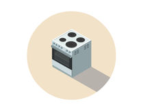 Vector l'illustrazione isometrica del fornello elettrico, la stufa, cucina piana di progettazione 3d Immagine Stock