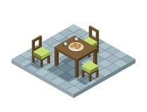 Vector l'illustrazione isometrica della mobilia della cucina, elemento piano della casa di progettazione 3d Fotografia Stock
