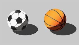 Vector l'illustrazione isometrica delle palle di pallacanestro e di calcio Fotografia Stock Libera da Diritti
