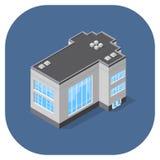 Vector l'illustrazione isometrica di un edificio per uffici commerciale moderno Fotografia Stock