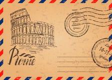Vector l'illustrazione, la retro busta con i bolli, Colosseo illustrazione di stock