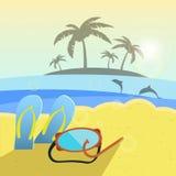Vector l'illustrazione, la spiaggia dell'estate, pantofole e Fotografia Stock Libera da Diritti