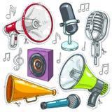 Vector l'illustrazione, le icone altoparlante, il microfono e gli altoparlanti Immagine Stock