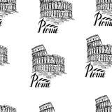Vector l'illustrazione, modello senza cuciture con l'etichetta di Roma Immagini Stock