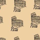 Vector l'illustrazione, modello senza cuciture con l'etichetta di Roma Fotografia Stock Libera da Diritti