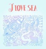 Vector l'illustrazione nei colori blu con il pesce divertente Immagine Stock