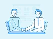 Vector l'illustrazione nello stile lineare piano e nei colori blu Immagini Stock Libere da Diritti