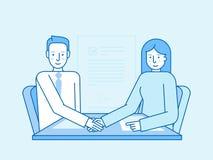 Vector l'illustrazione nello stile lineare piano e nei colori blu Immagine Stock