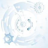 Vector l'illustrazione per fondo con gli ingranaggi e le ruote meccanici, futuristico astratto Fotografia Stock