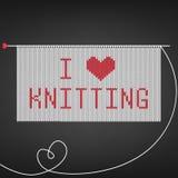 Vector l'illustrazione per i needlewomen con il ferro da maglia, tricottante e segnante il ` con lettere I per amare il ` tricott illustrazione vettoriale