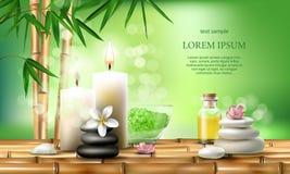 Vector l'illustrazione per i trattamenti della stazione termale con sale aromatico, l'olio di massaggio, candele immagine stock