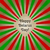 Vector l'illustrazione per il giorno della Bielorussia, retro cartolina d'auguri di stile Progetti il modello per il manifesto, l Immagini Stock