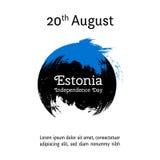 Vector l'illustrazione per il giorno di 20 August Estonia Independence nello stile di lerciume Progetti il modello per il manifes Fotografia Stock Libera da Diritti