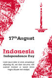 Vector l'illustrazione per il giorno di 17 August Indonesia Independence nello stile di lerciume Progetti il modello per il manif Immagini Stock