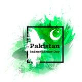 Vector l'illustrazione per il giorno di 14 August Pakistan Independence nello stile di lerciume Manifesto del modello di progetta Fotografie Stock
