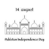 Vector l'illustrazione per il giorno di 14 August Pakistan Independence nello stile piano Fotografia Stock Libera da Diritti