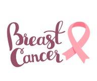 Vector l'illustrazione per il mese di consapevolezza del cancro al seno con il rosa Immagini Stock Libere da Diritti