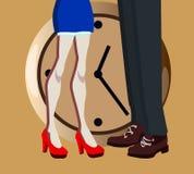 Vector l'illustrazione per la datazione del sito con l'uomo e gambe ed orologio della donna illustrazione di stock