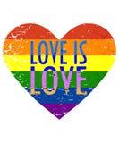 Vector l'illustrazione per mese di orgoglio della comunità di LGBTQI o di LGBT: La bandiera dell'arcobaleno in un amore afflitto  royalty illustrazione gratis