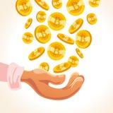 Vector l'illustrazione piana della mano umana che giudica molti bitcoins di caduta che cadono isolati sulla terra della parte pos Immagine Stock