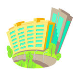 Vector l'illustrazione piana delle costruzioni nella città Nuova costruzione moderna di palazzo multipiano Camere isolate luminos Fotografie Stock