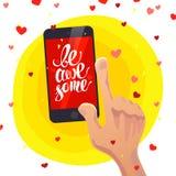 Vector l'illustrazione piana di giorno di S. Valentino felice su fondo bianco Fotografia Stock Libera da Diritti