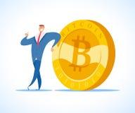 Vector l'illustrazione piana uomo d'affari del riuscito e del bitcoin isolata su fondo bianco Immagine Stock Libera da Diritti