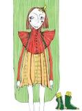 Vector l'illustrazione, ragazza sveglia di modo, concetto del fumetto, con fondo disegnato fotografie stock libere da diritti