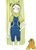 Vector l'illustrazione, ragazza sveglia di modo, concetto del fumetto, con fondo disegnato immagini stock