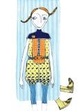 Vector l'illustrazione, ragazza sveglia di modo, concetto del fumetto, con fondo disegnato fotografia stock libera da diritti