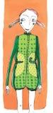 Vector l'illustrazione, ragazza sveglia di modo, concetto del fumetto, con fondo disegnato immagine stock libera da diritti
