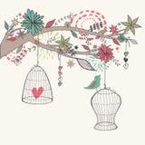 Vector l'illustrazione romantica con l'uccello dalle gabbie, rami Illustrazione di Stock