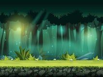 Vector l'illustrazione senza cuciture orizzontale della foresta in una foschia magica Fotografia Stock Libera da Diritti