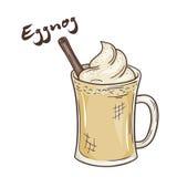 Vector l'illustrazione stampabile della tazza isolata di zabaione con l'etichetta royalty illustrazione gratis