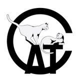 Vector l'illustrazione su un fondo bianco di due gatti illustrazione vettoriale