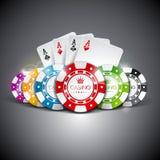 Vector l'illustrazione su un tema del casinò con colore che gioca i chip e le carte del playig su fondo scuro Elementi di gioco d royalty illustrazione gratis