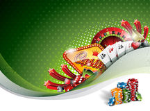 Vector l'illustrazione su un tema del casinò con gli elementi di gioco su fondo verde Immagini Stock