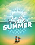 Vector l'illustrazione su un tema di vacanza estiva sul fondo di vista sul mare Immagine Stock