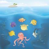 Vector l'illustrazione subacquea dell'oceano Fotografia Stock