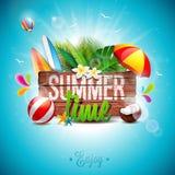 Vector l'illustrazione tipografica di festa di ora legale su fondo di legno d'annata Piante tropicali, fiore, beach ball e paraso Immagine Stock