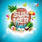 Vector l'illustrazione tipografica di festa di ora legale su fondo di legno d'annata Piante tropicali, fiore, beach ball e paraso Immagini Stock