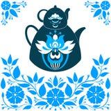 Vector l'illustrazione una teiera su un fondo blu Immagini Stock Libere da Diritti