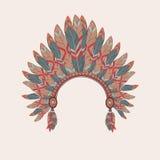 Vector l'illustrazione variopinta del copricapo del capo indiano del nativo americano Illustrazione di Stock