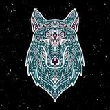Vector l'illustrazione variopinta del lupo tribale di stile con gli ornamenti etnici Immagini Stock