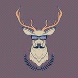 Vector l'illustrazione variopinta disegnata a mano dei cervi dei pantaloni a vita bassa con i baffi Fotografia Stock Libera da Diritti